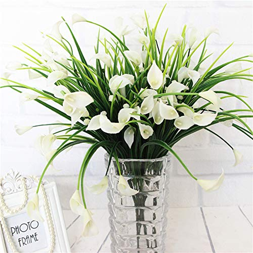 E-HAND Artificial Flowers Outdoor Fake Plants Faux Shrubs Calla Lily Plastic Greenery UV Resistant Window Box 4 Pcs Wholesale Arrangement for Garden Home Kitchen Dining Room Hanging Planter Cream