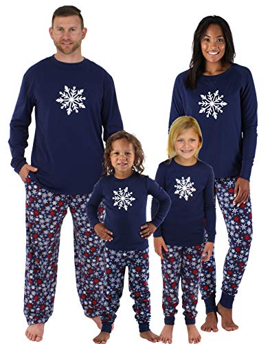 Sleepyheads Holiday Family Matching Winter Navy Snowflake Pajama PJ Sets - Mens (SHM-4034-M-NAVY-XL)