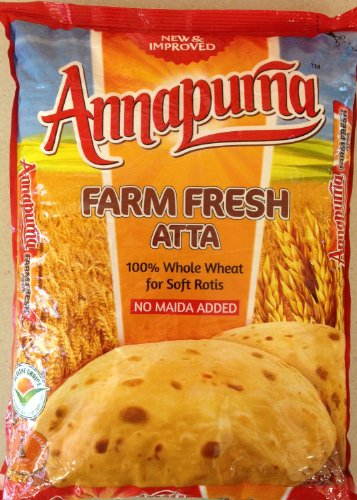 Annapurna Farm Fresh Whole Wheat Atta, 100% Whole Wheat for Soft Rotis, No Maida Added / 2 Kg.