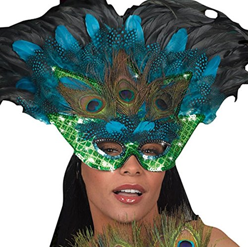 Amscan Womens Peacock Feather Mask Kit Halloween Costume Accessory (Peacock Masquerade Costume)