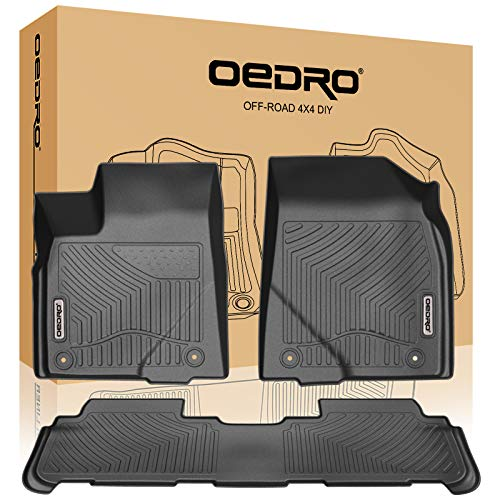 oEdRo Floor Mats Compatible for 2014-2019 Toyota Highlander,Unique Black TPE All-Weather Guard Includes 1st and 2nd Row: Front, Rear, Full Set Liners (Rear Heavyweight Set Mat)