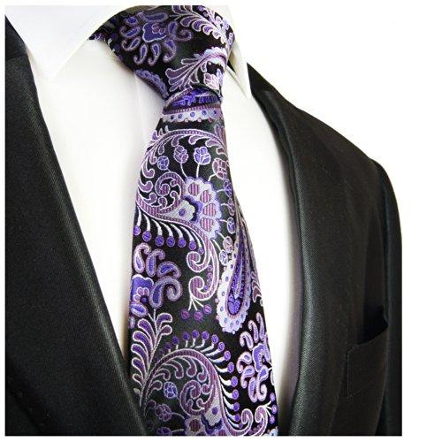 Cravate homme noir violet paisley 100% cravate en soie ( longueur 165cm )