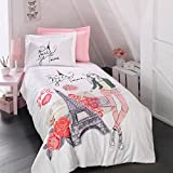 Bekata Amour %100 Cotton Single/Twin Size Quilt Duvet Cover Set Paris Eiffel Tower Theme Themed Perfect Design Paris Bedding Linens Reversible 4 PCS