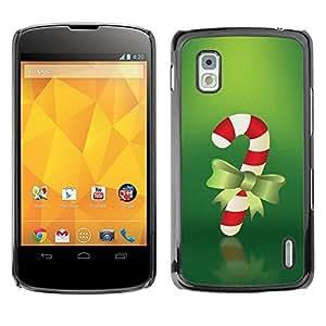 YOYO Slim PC / Aluminium Case Cover Armor Shell Portection //Christmas Holiday Red Candy Stick 1074 //LG Google Nexus 4