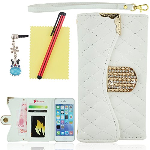 Ancerson New Hot Sale Bling Crystal Diamond Golden Alloy Stripe Frame Stylish Plaid Design Magnet Buckle Built-in Credit/ ID Card Wallet Slots Ultra Slim PU Leather Protective Flip Case Cover Shell Skin with Hand Strip fit for Apple iPhone 5S 5 5th 5g free with a Red Stylus Touchscreen Pen, a 3.5mm Universal Crystal Diamond Rhinestones Bling Lovely Silvery Flower Blue Panda Pendant Dust Plug Earphone Jack and a Cleaning Cloth - Retail Package (White)