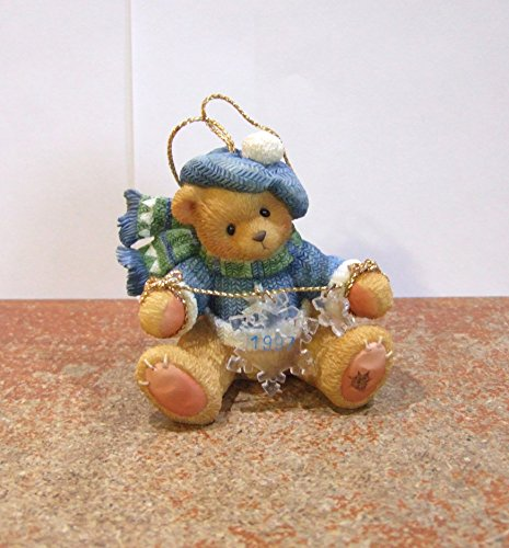 Cherished Teddies Bear with Dangling Snow Flakes 1997 Hanging Ornament