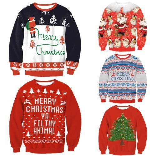 LQT Ltd Stylish Unisex Christmas Sweatershirt Men Women Santa Xmas Christmas Novelty Ugly Warm Sweater Female Tops Clothes -