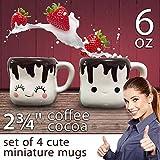 Cute Coffee Mugs For Women Marshmallow Shaped - Hot Chocolate Cups w. Handle - Coffee Mug Set of 4 - 6 oz Coffee Cup Set - Unique Kids Mug Gift - Cocoa Dessert Cups for Mini Marshmallows