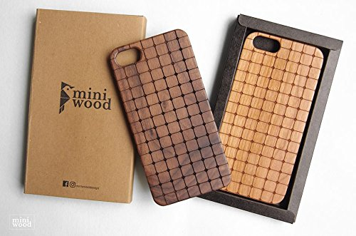 Square Circle Pattern - Miniwood iPhone/ Samsung Case - Natural Real Wooden, Laser Engraving, Unique Case, Unique, Classy & Stylish Wood, Protective Bumper with Real All Wooden - Burch Teal Bag Tory
