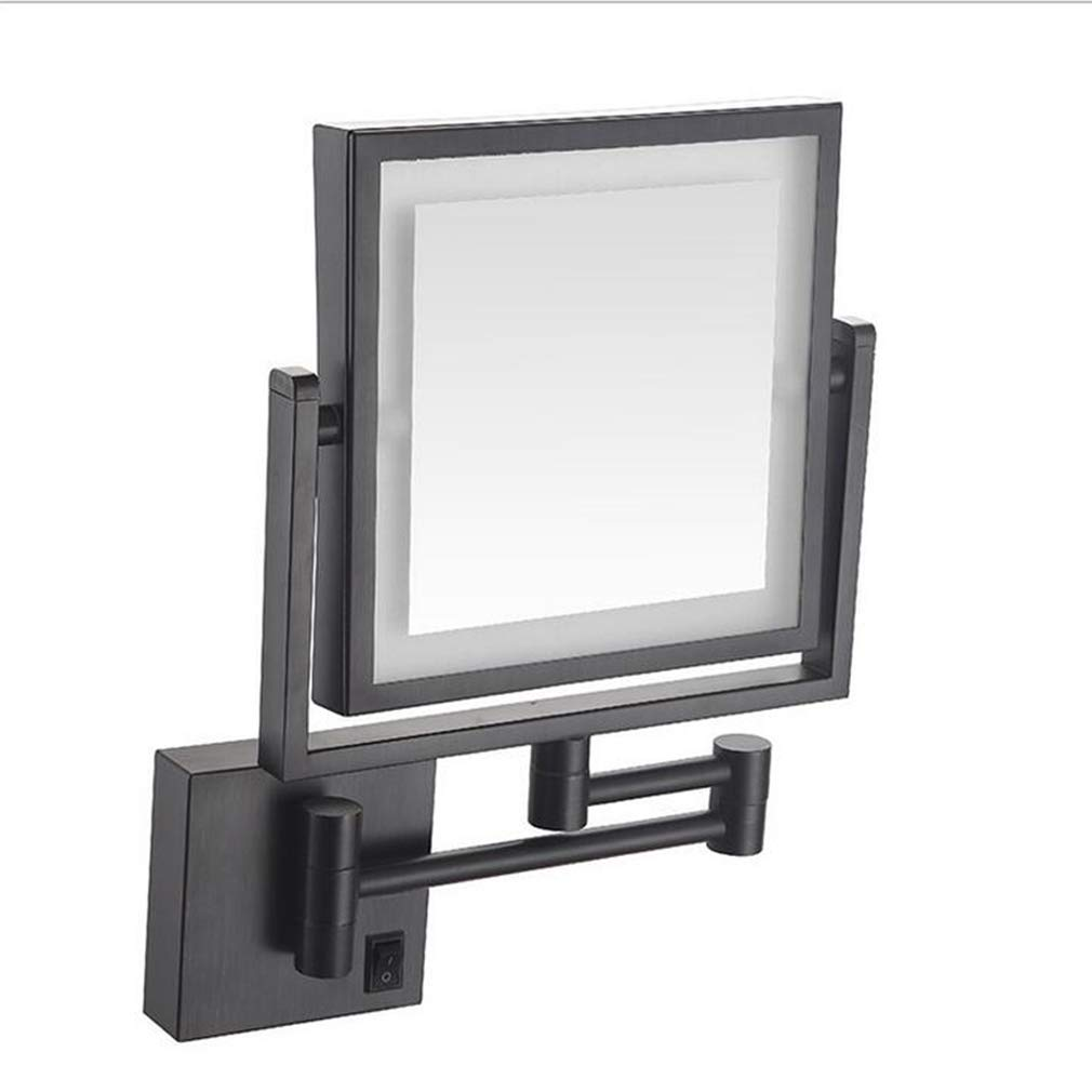 CUUYQ Makeup/Vanity Mirror with Lights, Two-Sided 3X Magnification Makeup Mirror 360° Swivel Wall Mounted Extendable Cosmetic Mirror 8inch Hardwired Connection,Black