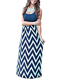 Mooncolour Women Boho Sleeveless Wave Striped Maxi Dress
