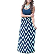 Demetory Women`S Boho Sleeveless Chevron Striped Maxi Dress (Small, Navy)