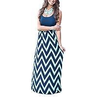 Demetory Women`S Boho Sleeveless Wave Striped Maxi Dress (Medium, Navy)