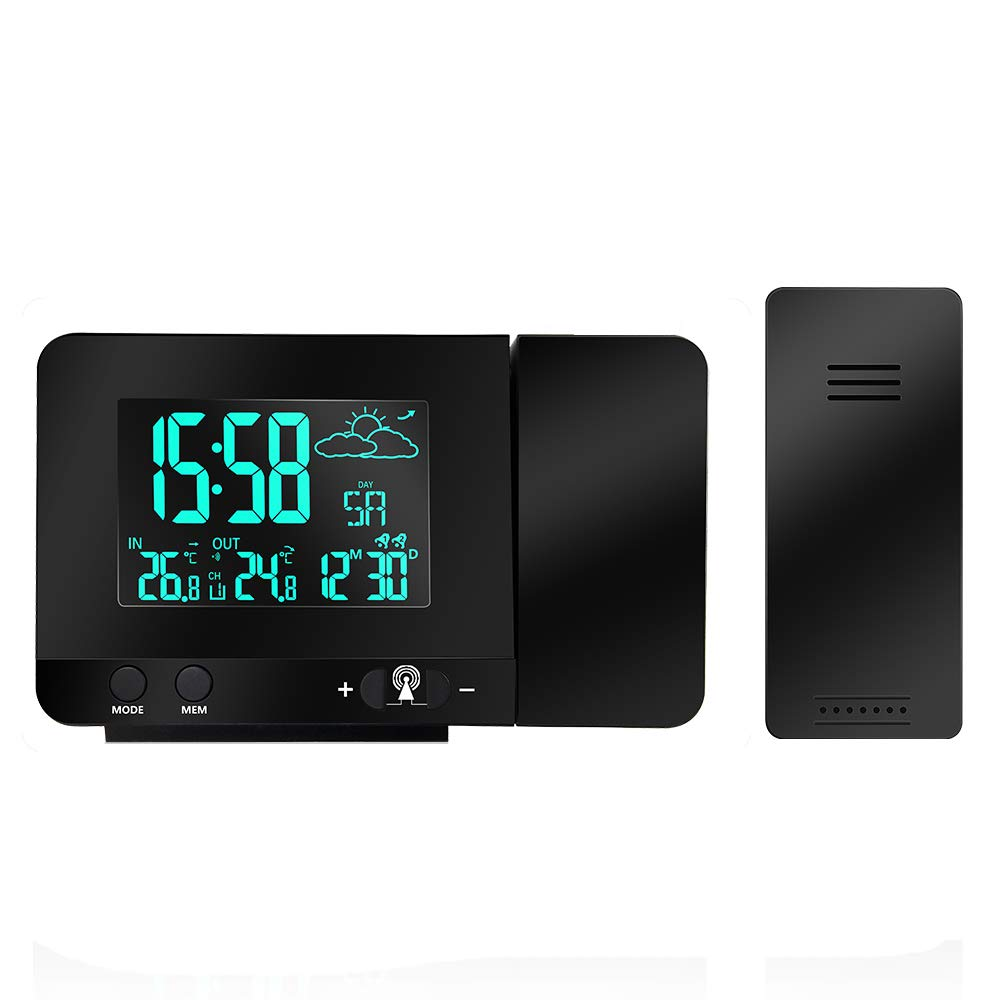 Protmex Projection Alarm Clock, PT3531B WWVB Digital Radio Controlled Projection Clock with Weather Station, Dual Alarms, Indoor Thermometer, USB Phone Charging, Colorful Backlight Function by Protmex