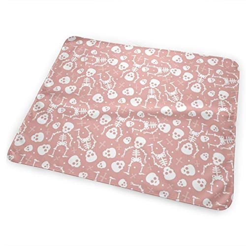 Cool Skulls Halloween Skeleton and Mexican Dia De Muerte Kids Print Pink_9055 Changing Pad Portable - Biggest Changing Mat to Change Diaper -
