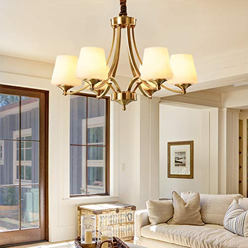 ANNABEL Modern Chandeliers with Glass LampShade, Pendant Ceiling Light Fixture for Bedroom Living Room Dining Room 110V-222V