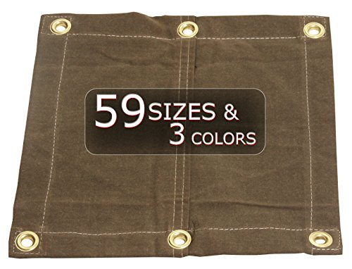10X16 18oz Heavy Duty Canvas Tarp with Grommets - Tan- Water, Mold and Mildew Resistant (Tan Duty Heavy Tarp Canvas)