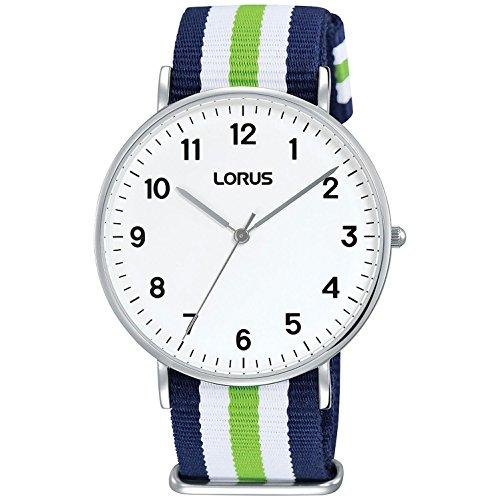 Lorus Men's 40mm Multicolor Cloth Band Steel Case Quartz White Dial Analog Watch RH817CX8