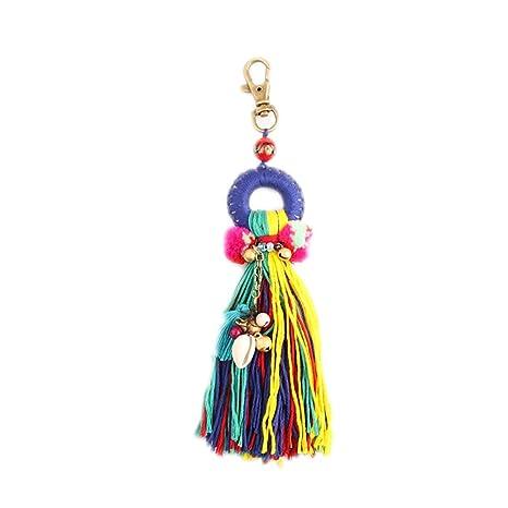 Nowbetter Llavero con pompón de Borla Boho, Colorido, con Flecos Largos, Mujeres y niñas, Style 7, 19 cm