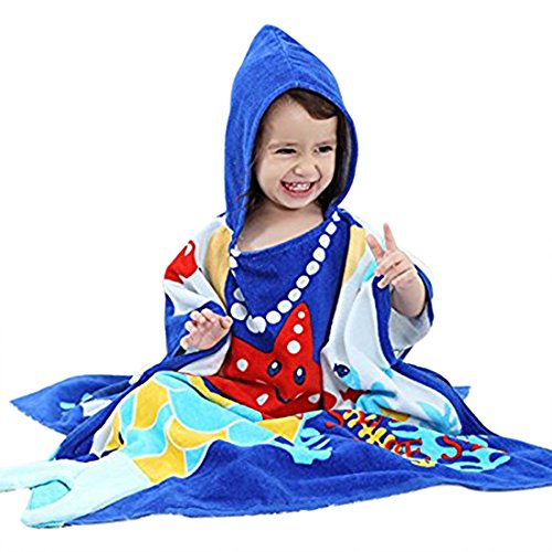 Hooded Towel For Kids 140x70CM Blue Ocean Use for Bath, Beach, Pool