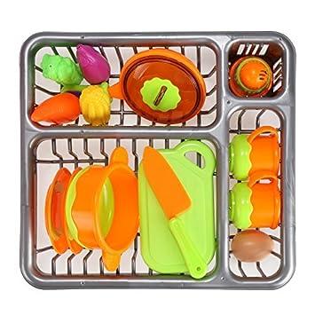 Arshiner Geschirrset Kinder Kitchen Topf Pfannen Und Brettchen Spielzeug  Küchenzubehör Set 13 Tlg