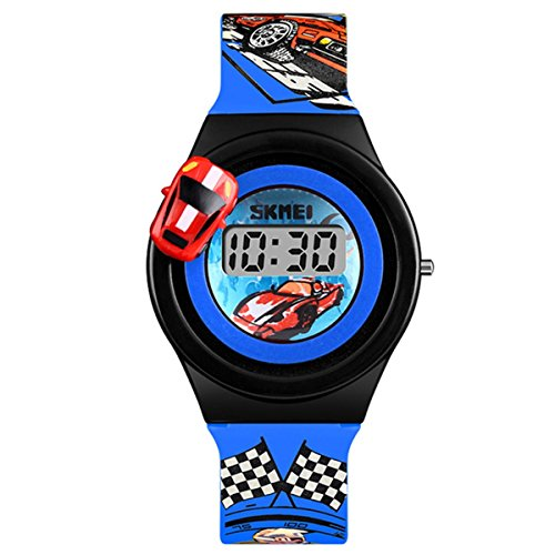 Abrray Toddler Wrist Watch 3D Cute Cartoon Children Watches for Boys Girls LCD Digital Wristwatches (Blue)