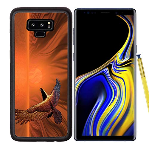 Samsung Galaxy Note9 Case Aluminum Backplate Bumper Snap Case Image ID: 277101 Surreal Flaming Eagle in a Surreal Sunset