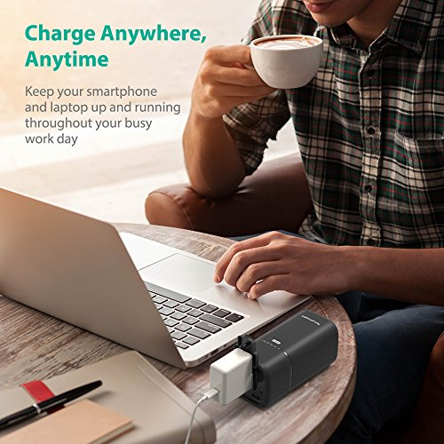 RAVPower 20100 AC lightweight Charger 20100mAh 65WMax built in AC Outlet commonly used strength Bank travelling Charger Type C Port USB iSmart Ports 19V 16A DC input For MacBook Laptops Smartphones External Battery Packs
