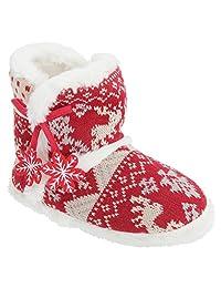 Womens/Ladies Fairisle Snowflake Design Slipper Booties