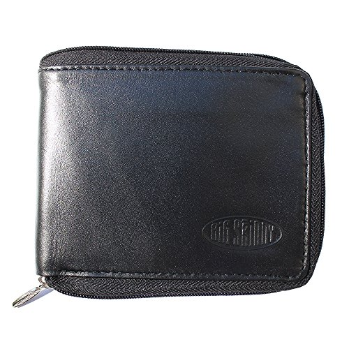 Big Skinny Men's Zipfold Leather Bi-Fold Slim Wallet, Holds Up to 25 Cards, Black by Big Skinny
