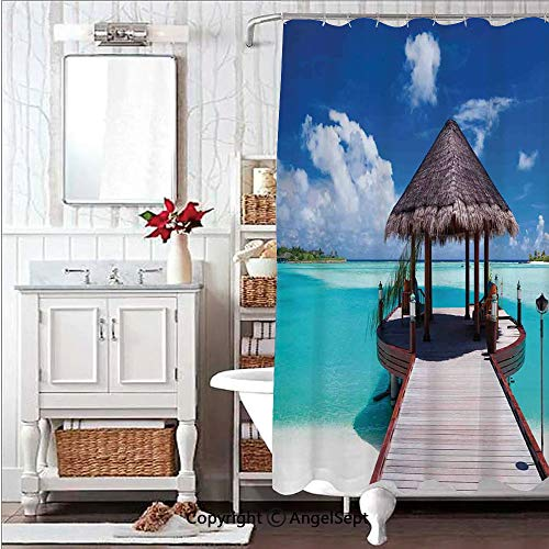- Soft,Non Toxic,Eco-Friendly,No Chemical Odor Shower Curtain Bath Curtain 59x71in Jetty and The Ocean View on Tropical Caribbean Island Beach Resort ImageTurquoise Blue Redwood Decorative Design d Pla