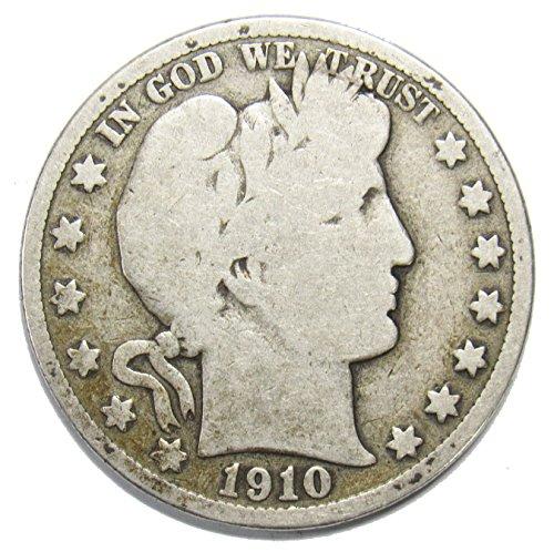 1910 S Silver Barber Half Dollar 50c Very Good
