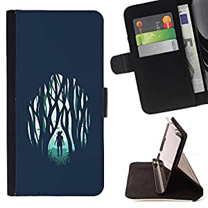 Momo Phone Case / Flip Funda de Cuero Case Cover - Chica en el bosque emotivo;;;;;;;; - Samsung Galaxy A5 ( A5000 ) 2014 Version