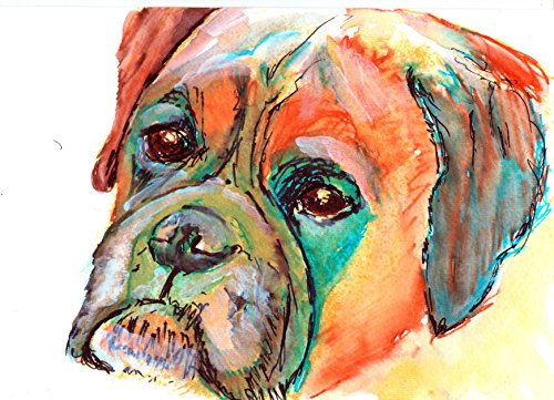 Boxer Dog Art, Boxer Dog Gift, Colorful Brindle Boxer Dog Art, Gift For Boxer Dog Owner, Boxer Mom Art, Dog Abstract Painting, Modern Boxer Dog Painting by Oscar - Brindle Gifts Dog Boxer