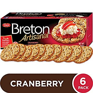Dare Breton Artisanal Crackers, Cranberry and Ancient Grains, 5.29 oz Box (Pack of 6) – Healthy Snacks with No Artificial Colors or Flavors – Made with Real Cranberry, Spelt, and Amaranth