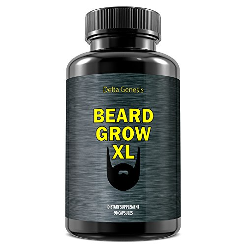 Beard Grow XL | Facial Hair Supplement | Vegan | #1 Mens Hair Growth Vitamins | for Thicker and Fuller Beard (Best Beard Growth Serum)