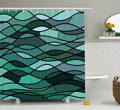 Teal Shower Curtain by Ambesonne, Abstract Mosaic Waves Ocean Inspired Expressionist Pattern Marine Design Image, Fabric Bathroom Decor Set with Hooks, 75 Inches Long, Dark Green - Aqua Dark Green