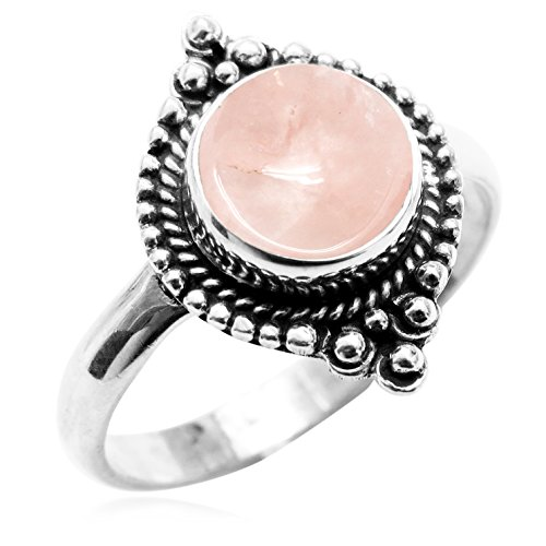 Sterling Silver Jewelry 1.75ctw, Genuine Rose Quartz 8x8mm Round & .925 Silver Plated Handmade Fashion Ring (Size-7.5) Quartz Silver Plated Ring