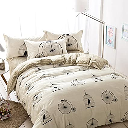 Birdcage Striped Leaves Bedding Sets Queen Size Cheap Pure Cotton Duvet  Cover Bed Sheets Men Modern