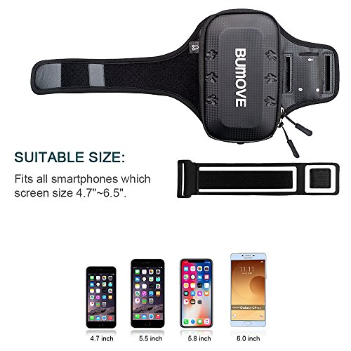 Large Running Armband, BUMOVE Waterproof Gym Exercise/Workout Arm Band Wallet Bag for iPhone X, iPhone 6/7/8 Plus, Samsung Galaxy S7, S8/S9 Plus, Note 8 with Card Holder (Black) by BUMOVE (Image #6)