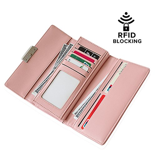 Unique Pink Coral (RFID Wallet Womens - Security Credit Card Protector Blocking Wallet Card Organizer Card Holder Protection (Pink Coral))