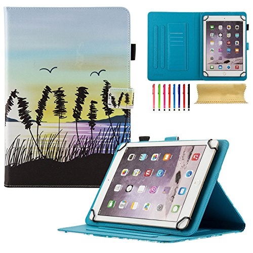 Uliking Universal Case for 7.5-8.5 inch Andriod iOS Tablet, PU Leather Stand Cover with Card/Stylus Slots for Fire HD 8, iPad Mini 1/2/3/4, Galaxy Tab E 8.0/Tab A 8.0/Tab S2 8.0, etc, Beach Sunset ()