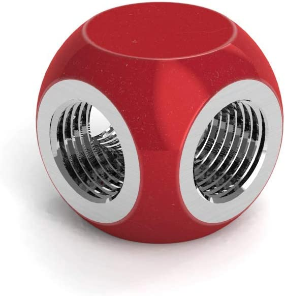 SX Candy Red PrimoChill G1//4 3-Way Multi-Way Fitting Connector