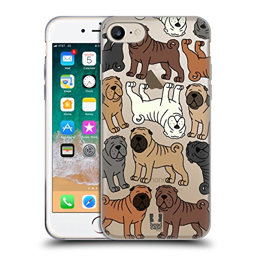 Head Case Designs Chinese Shar Pei Dog Breed Patterns 4 Soft Gel Case for iPhone 7 / iPhone 8 ()
