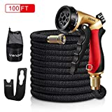 Crenova 100ft Garden Hose Upgraded Expandable Hose with Double Latex Core, 3/4 Solid Brass Connector, Expanding Water Hose with 7 Function Metal Spray Nozzle