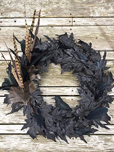 Spooky Black Crow Feather and Leaf Halloween Wreath ()