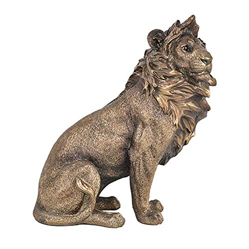 (Homestia Lion Statue Carving Animal Collectible Figurine Handcrafted Resin Sculpture Home)