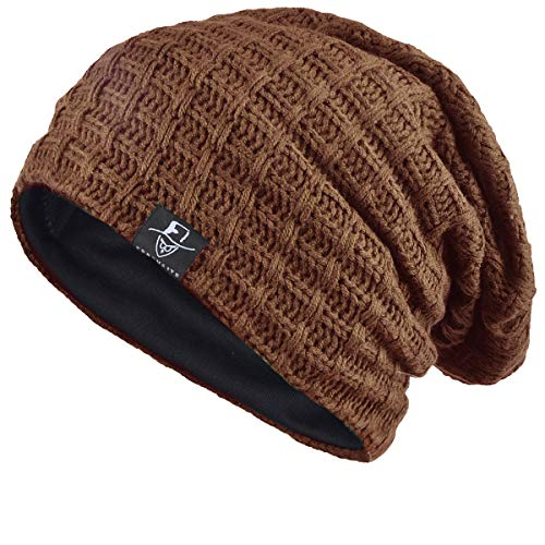 FORBUSITE Slouch Beanie Hats for Men Winter Summer Oversized Baggy Skull Cap (Brown)]()