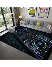BGVDF Outdoor tapijt Dj-muziekpatroon weerbestendig wasbaar tapijt met anti-slip, tapijten, moderne wooncultuur voor woonkamer slaapkamer kinderkamer woonkamer