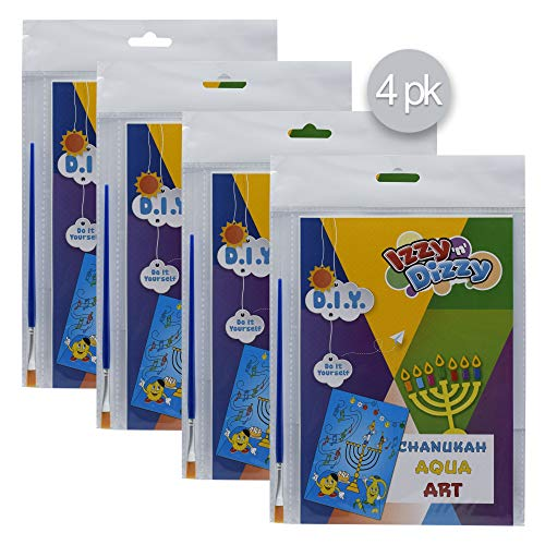 Izzy 'n' Dizzy Hanukkah Aqua Art Kit - 4 Pack - Includes 8 x 6 Board and Brush - Chanukah Arts and Crafts - Gifts and Games